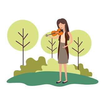 Woman with violin in landscape avatar character