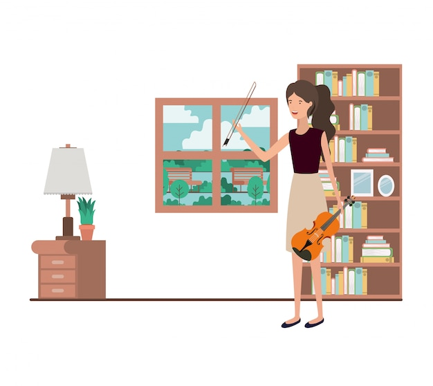 Woman with violin in living room character
