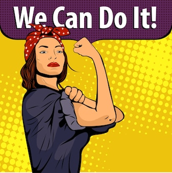 Woman with we can do it phrase