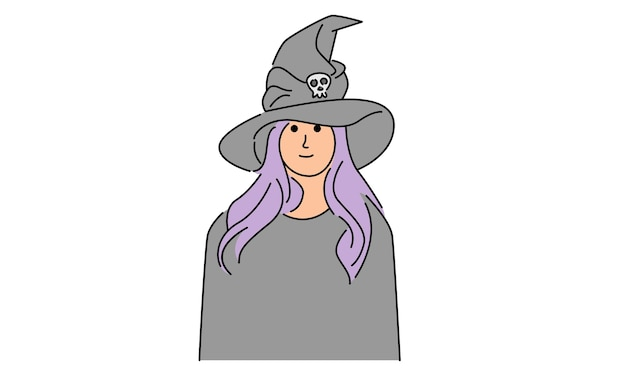 Woman with witch halloween costume