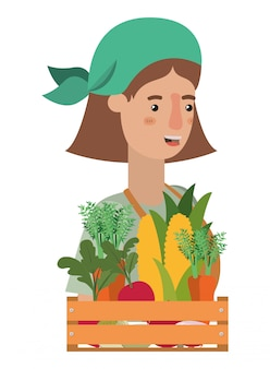 Woman with wooden basket with tag avatar character