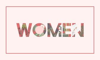 Woman Word Botanic Flower Pattern Illustration