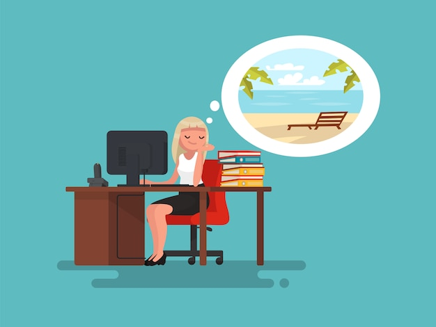 Woman at work daydreaming about summer vacation at sea illustration