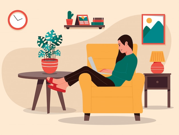 Woman work from home illustration