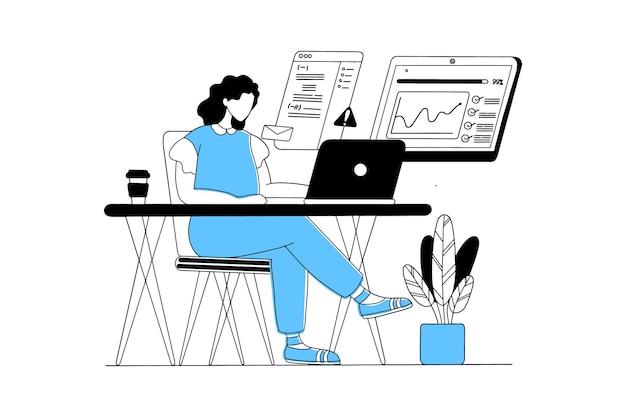 Женщина работает из дома с ноутбуком на столе