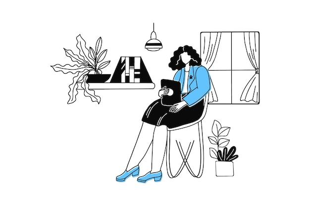 스마트 태블릿으로 집에서 일하는 여성