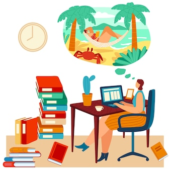 Woman work laptop but dreams about beach, tropical travel, female lying hammock, ocean shore,  on white,   illustration.