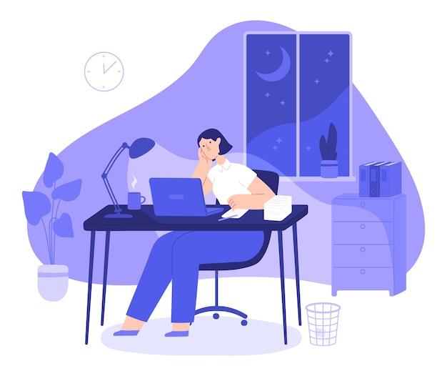 여자는 밤 늦게까지 일합니다. 피곤한 여성 프리랜서는 책상이 있는 홈 오피스에서 밤새 컴퓨터로 바쁘다. 직원 초과 근무 벡터 개념입니다. 어두운 방에서 과로하는 책임감 있는 소녀
