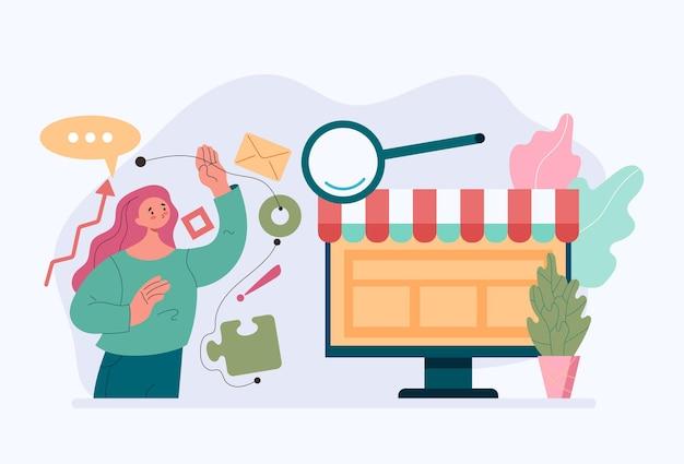 재무 분석 온라인 비즈니스 분석 거래 개념에서 활동을 복용하는 여성 작업자 문자
