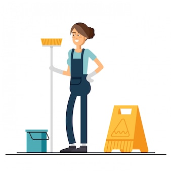 Woman worker of cleaning service is holding a mop.