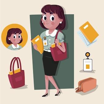 ジョブツールを完備したアニメーションの準備ができている女性労働者かわいい2dキャラクター