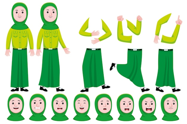 Woman worker flat character creation set