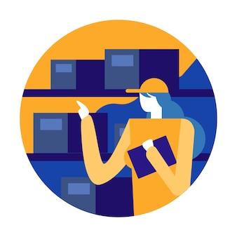 Женщина-работник, организующая инвентарь и склад на складе.