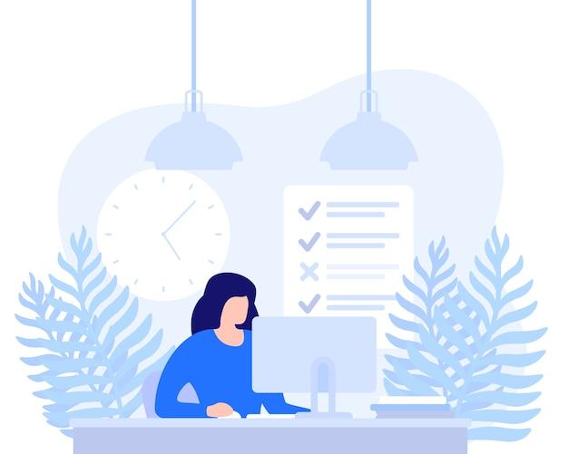 コンピューター、期限、タスク完了イラストで働く女性
