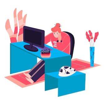 홈 오피스 개념에서 일하는 여자. 책상에 컴퓨터와 함께 앉아 프리랜서입니다. 프리랜서 직장, 프로젝트 캐릭터 장면에서 원격 작업. 사람들이 활동과 평면 디자인의 벡터 일러스트 레이 션