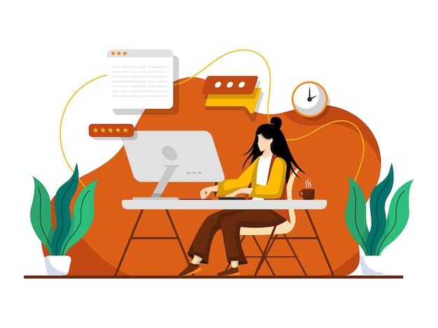 Женщина, работающая в домашнем офисе.