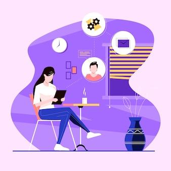 Женщина работает на дому на планшете Бесплатные векторы