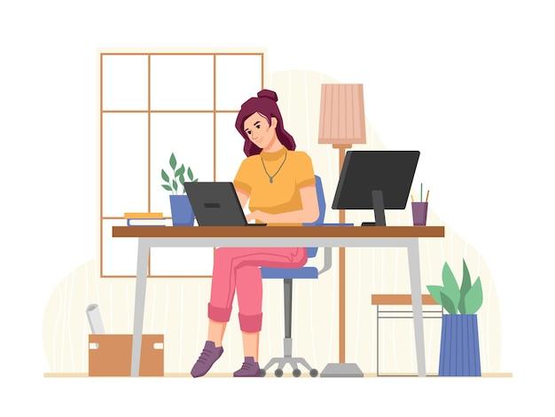 Женщина, работающая на работе в домашнем офисе на рабочем месте