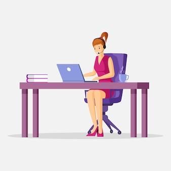 ラップトップで働く女性。サポート、フリーランス、仮想オフィス漫画コンセプト。