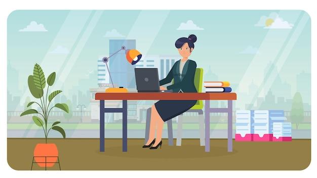 Женщина, работающая в офисе иллюстрации