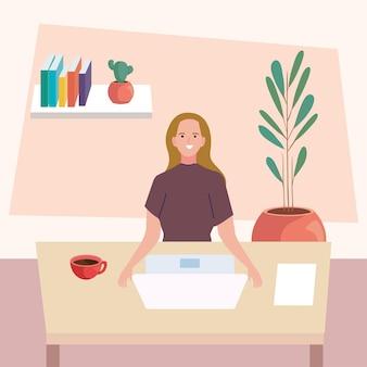 컴퓨터 현장에서 일하는 여성