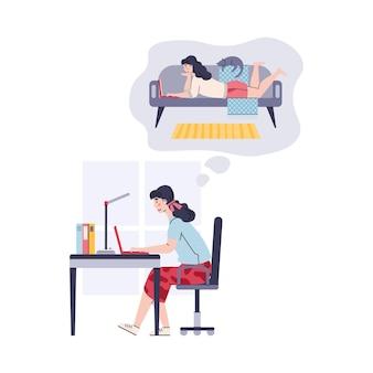 Женщина, работающая на рабочем месте в бизнес-офисе, мечтает о внештатной работе дома