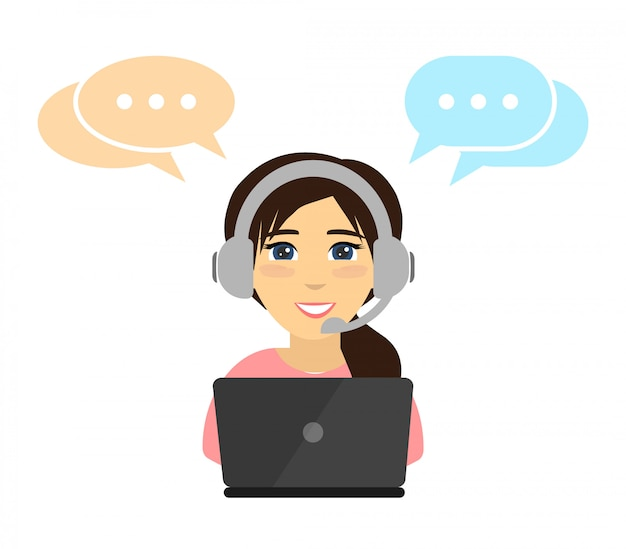Woman working in a call center. .