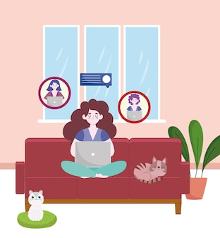 Woman working and chatting with colleagues laptop on sofa home office  illustration
