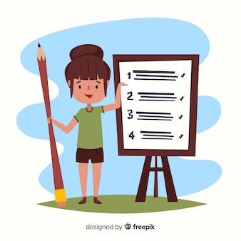 Woman working on checklist background