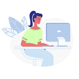 Woman working on computer flat vector illustration
