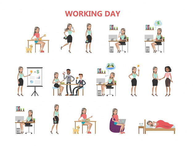 Woman working day.