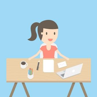 Woman working design