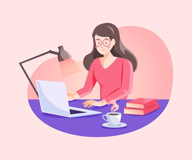 Женщина, работающая из дома концепции