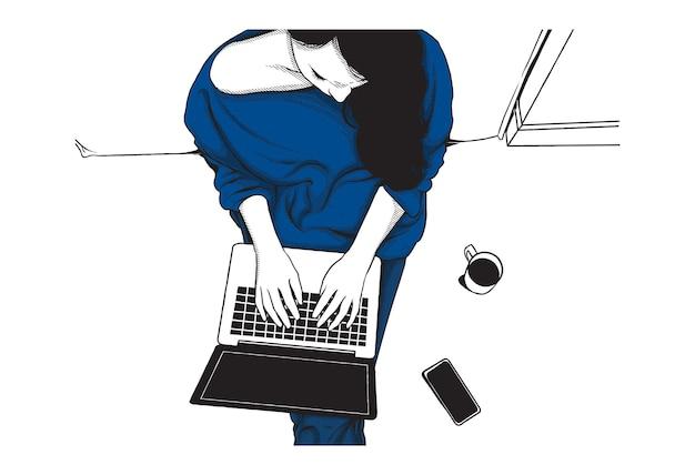 Женщина, работающая из дома иллюстрации