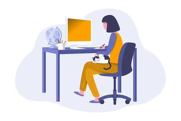 新しい通常の生活の中で在宅勤務をしている女性。 Premiumベクター