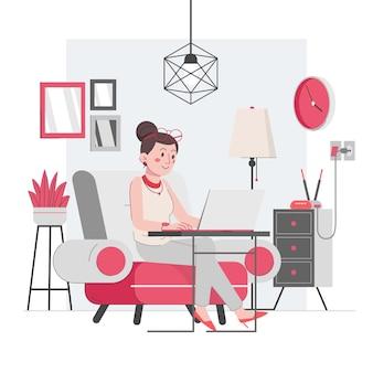 大きなリビングルームの椅子で在宅勤務の女性