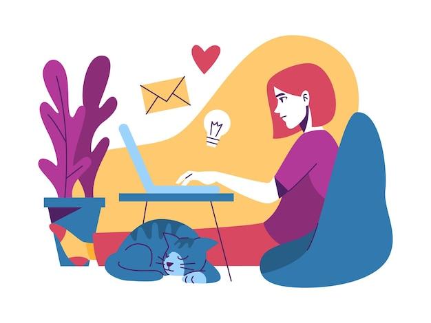 ノートパソコンで自宅で働く女性
