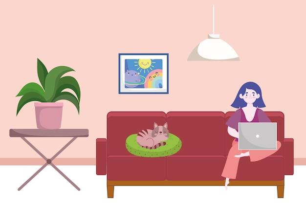 在宅勤務の女性、学生またはフリーランサーのホームオフィスのイラスト