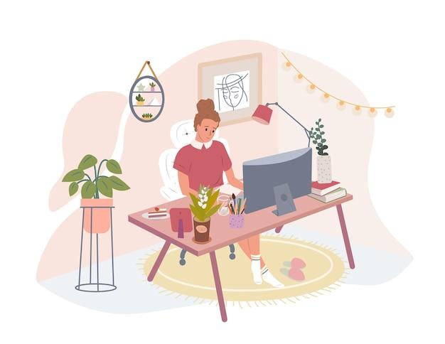 Женщина, работающая из дома, студент или фрилансер, векторная иллюстрация квартиры люди, работающие удаленно
