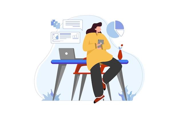 스마트폰과 노트북으로 집에서 일하는 여성