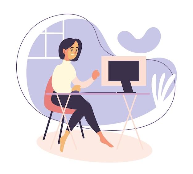 집에서 일하는 여성