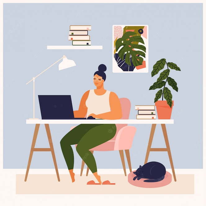 Woman working at her desk at home. she has a lot of work. woman working with laptop at her work desk and testing ui and ux. illustration of student studying at home.