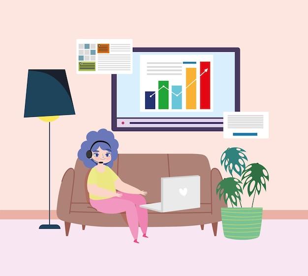 家で働く女性