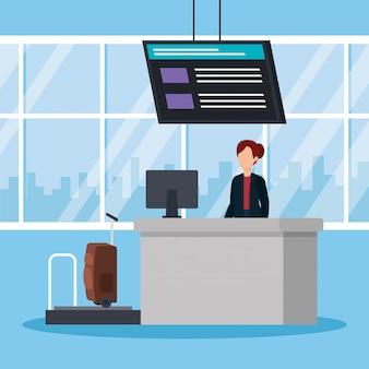 Женщина, работающая в аэропорту Premium векторы