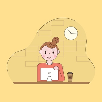 Женщина, работающая в компьютерной иллюстрации