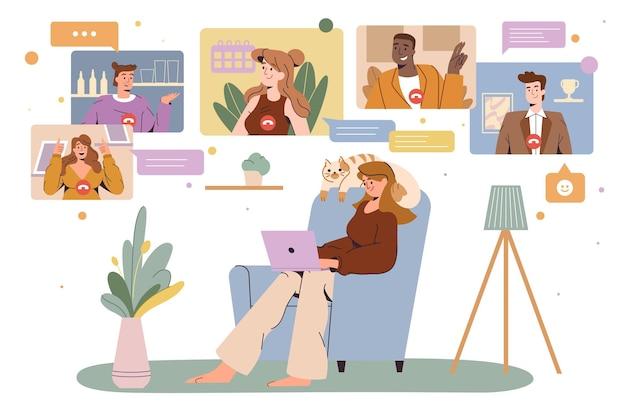 홈 오피스에서 일하는 여성 온라인 화상 회의 실시 프리미엄 벡터