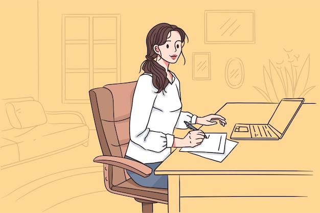 Женщина, работающая в офисе концепции