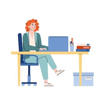 ノートパソコン、白い背景で隔離の漫画ベクトルイラストと机に座ってオフィスで働く女性。コンピューターで働くオフィスマネージャーの女性キャラクター。