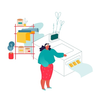 인쇄 집 또는 광고 대행사에서 일하는 여자는 다원 기록법 장비 근처에 서 있습니다.