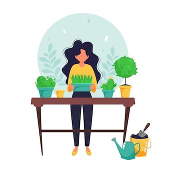 정원에서 일하는 여자. 홈 원예 개념. 플랫 스타일의 그림.